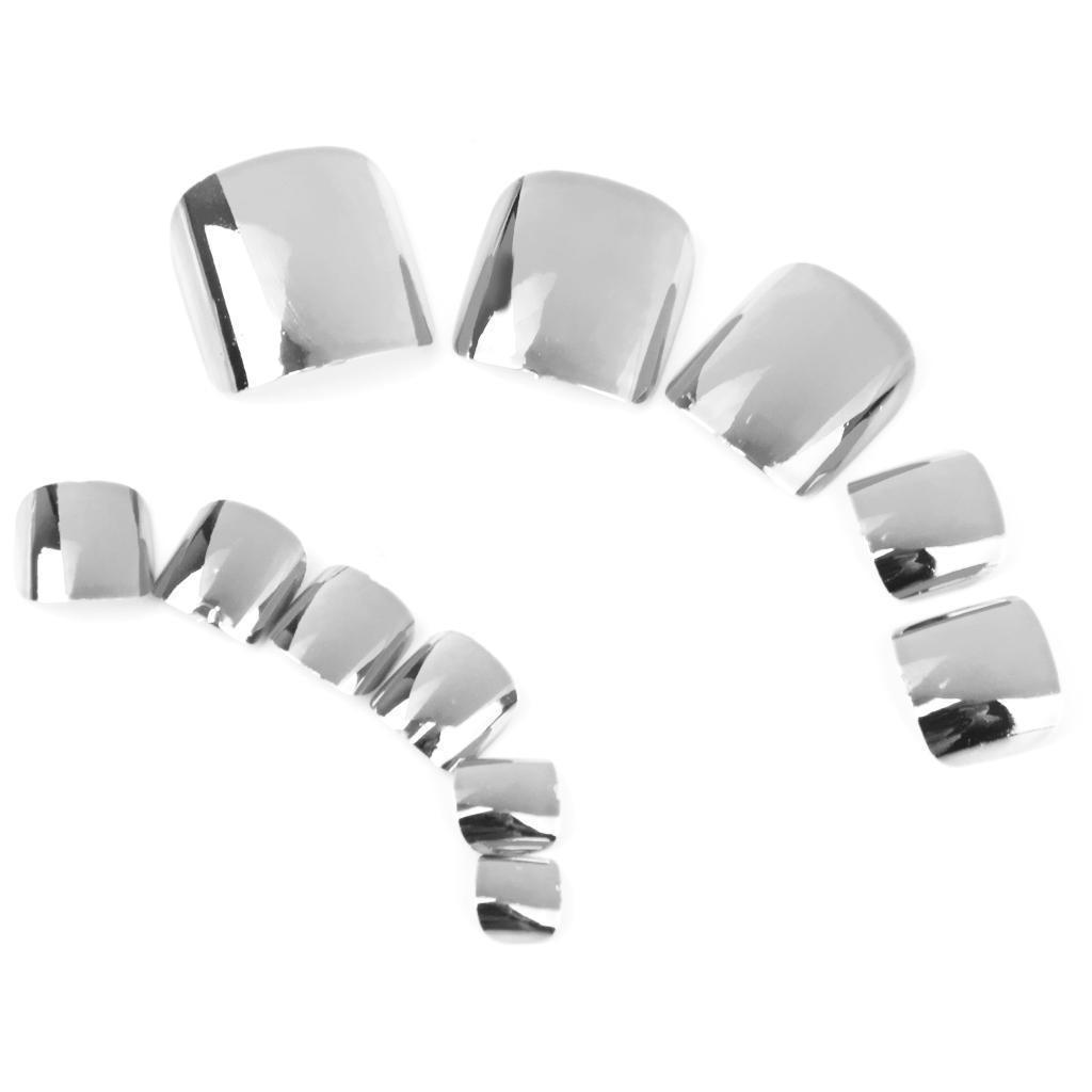 Серебряные искусственные металлические зеркальные женские ногти на плоских ногах, ногти для пальцев на ногах, пресс для ногтей 24 шт. N12