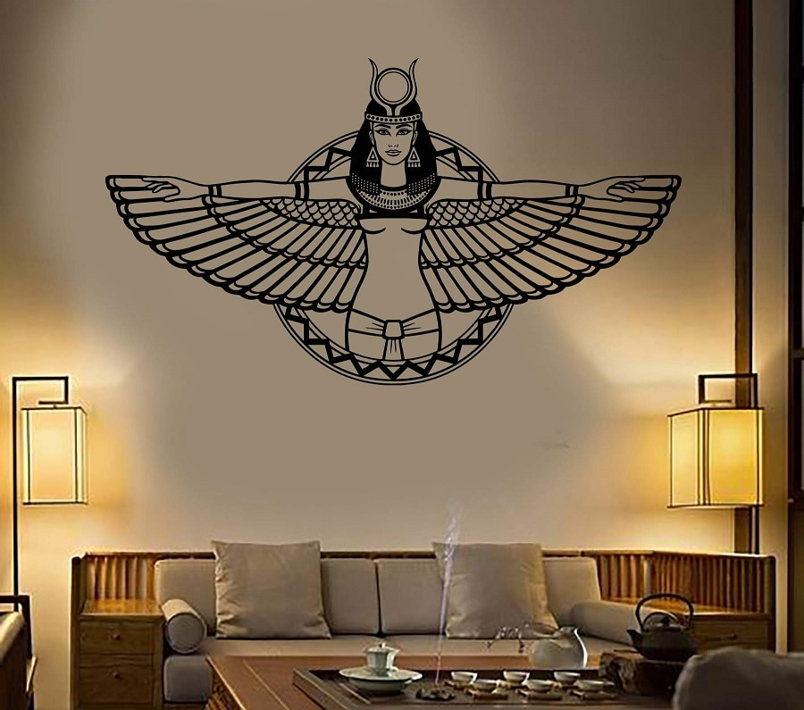 Vinilo pared apliques egipcia antigua reina Cleopatra egipcio alas decoración dormitorio habitación pared arte pegatinas 2AJ4