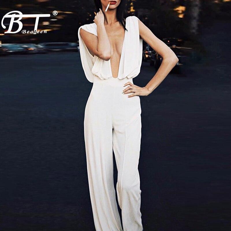 Beateen, novedad de 2019, Mono Blanco de moda Sexy para mujer, profundo escote en V, sin mangas, elegantes Pantalones rectos para Club de mujer