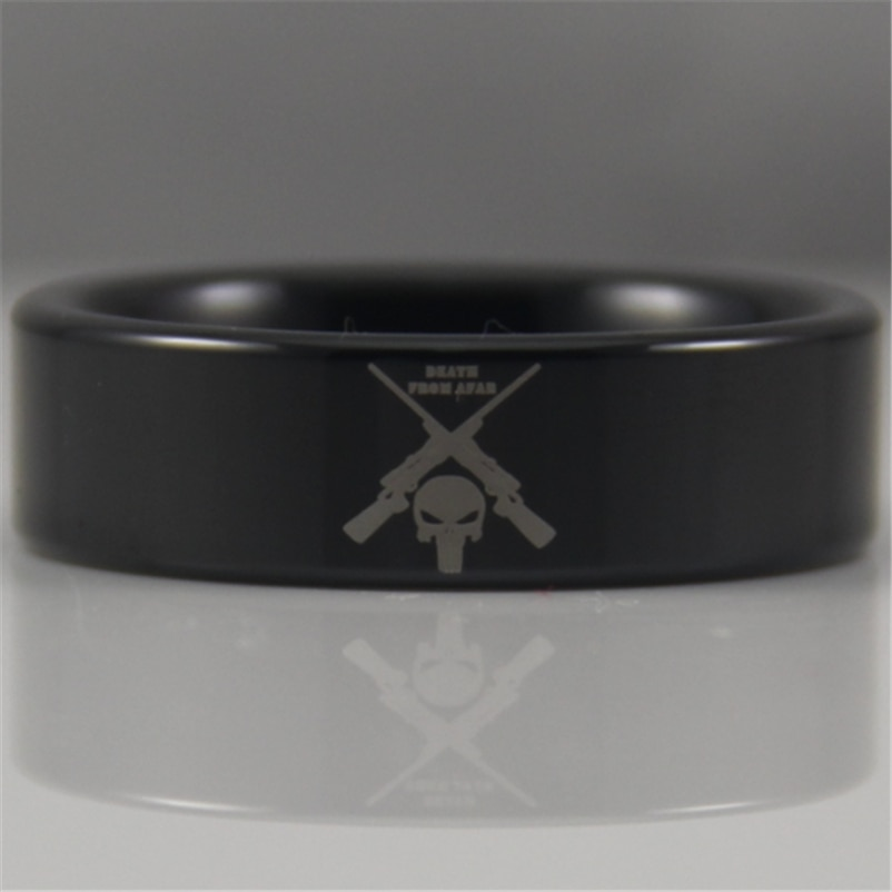 ¡Gran oferta! Envío gratis de anillo de 8MM de tungsteno para hombres de EE. UU., Reino Unido, Canadá, Rusia, Brasil, con pipa negra, francotirador explorador militar
