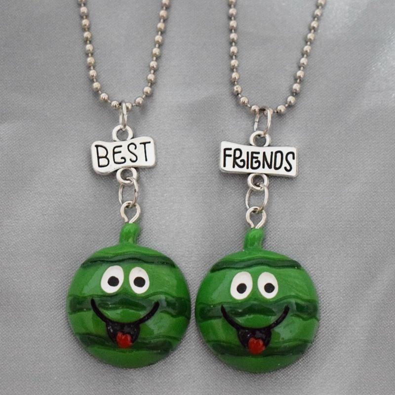 Niños mejor amigo collar resina simulación fruta sandía cara feliz colgante BFF 2 collar joyería REGALO PARA NIÑOS 2 unids/set