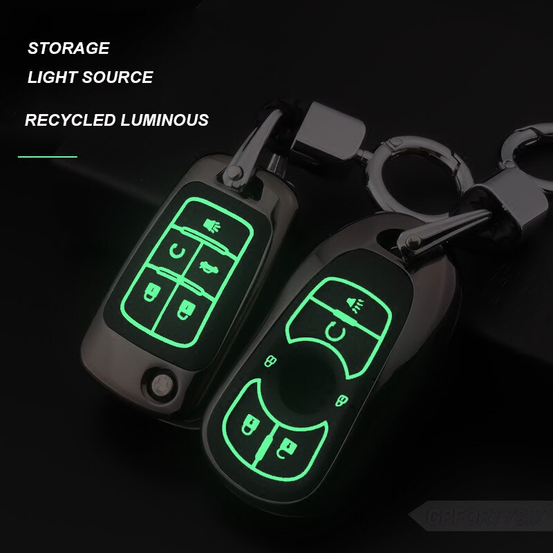 Leucht Zink-legierung Auto Schlüssel Fall Abdeckung Halter Brieftasche Auto Keychain Für OPEL Astra Buick Encore Envision LACROSSE Smart Key tasche