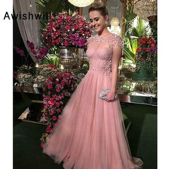 New Fashion Long Prom Dresses 2020 Short Sleeves A-Line Floor Length Appliques Tulle Elegant Evening Dress Robe de soriee