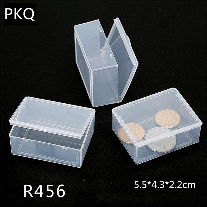 Caja de almacenamiento transparente pequeña de 20 tamaños rectangular para organizador de joyas caja de plástico para almacenamiento en casa