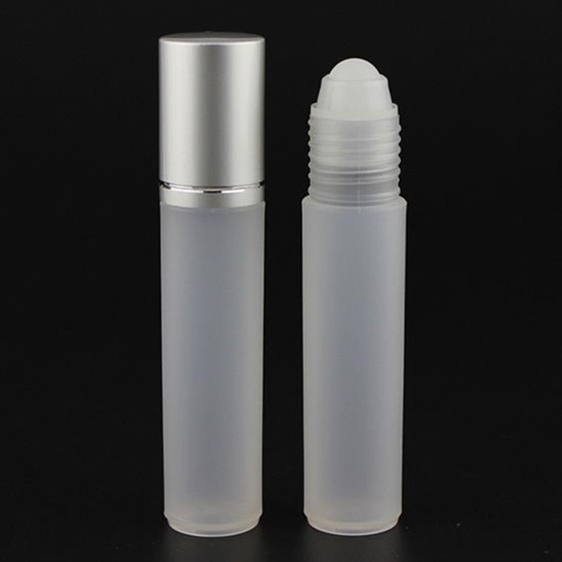 Botella de plástico PP Roll On de 10ml con bola de acero inoxidable, botella Roll-on de plástico de 10cc, botella de Perfume Roll-on de 1/3oz