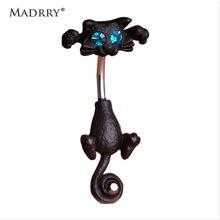 Madrry exquis mignon chat nombril anneaux nombril Piercing Bijoux sexe femmes corps 316L acier chirurgical 14G 1.6mm Barbell Bijoux