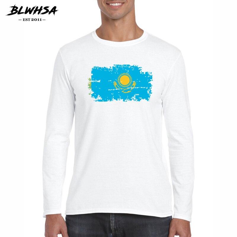 BLWHSA la nueva camiseta de la bandera de Kazajstán para los hombres 100% algodón hombres Casual de manga larga Camiseta de los Fans de Kazajstán Cheer ropa de los hombres