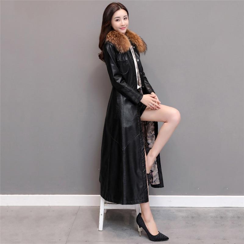 Winter Coat Women Black Wine Red Plus Size Loose Faux Leather Jackets 2019 New Korean Office Fashion Long Add Cotton coat LD1104 enlarge