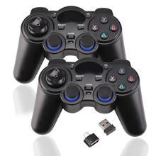 2 pièces 2.4G contrôleur de jeu manette de jeu sans fil pour PS3 Android TV Box bâtons analogiques avec 2 adaptateur OTG 2 récepteur USB d25