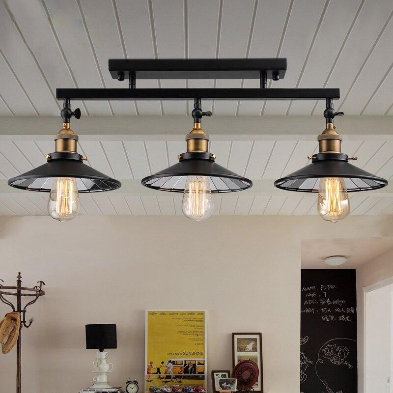 Fashion vintage loft DIY black iron ceiling light home deco mirror glass lampshade 3*E27 Edison bulb dining room adjustable lamp