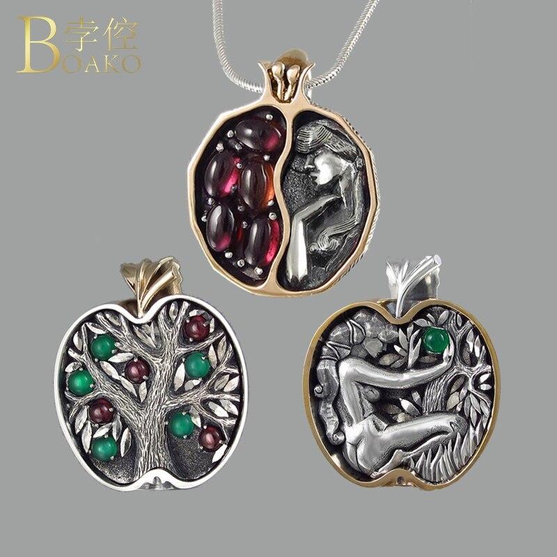 BOAKO collar de piedra Natural de las mujeres vintage hueco de collar de cristal de piedra de Gema reina collar árbol de manzana granate Colar Z5