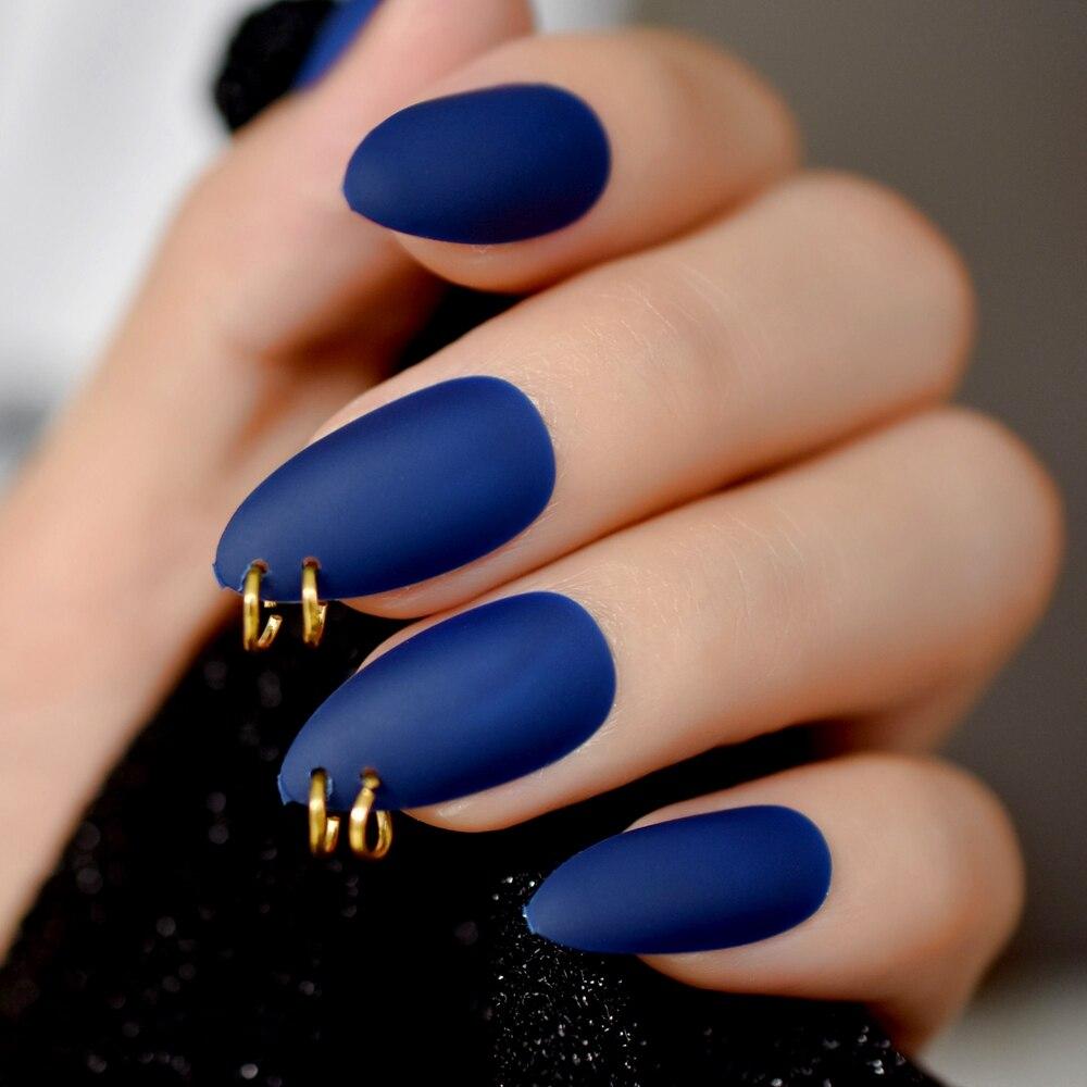 Anel de ouro fosco azul escuro stiletto unhas falsas oval amêndoa apontado fosco cobertura completa estilo punk imprensa em falso usar prego