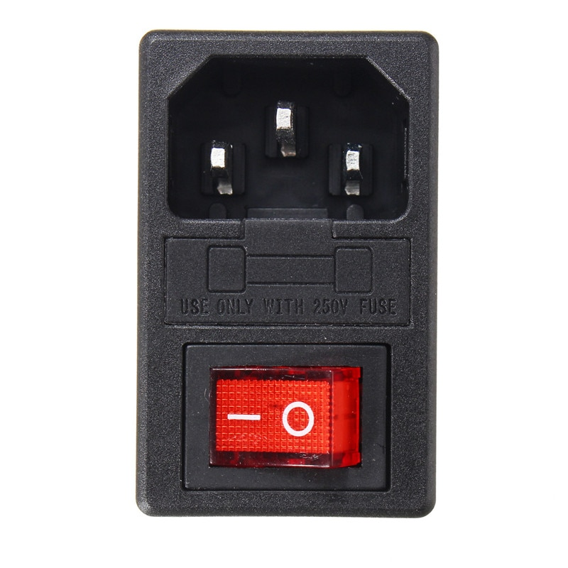 IEC320 C14 3 в 1 плавленый держатель переключатель 10A AC 250 В на входе Мужской Разъем питания рокер красный свет 3Pin переключатель