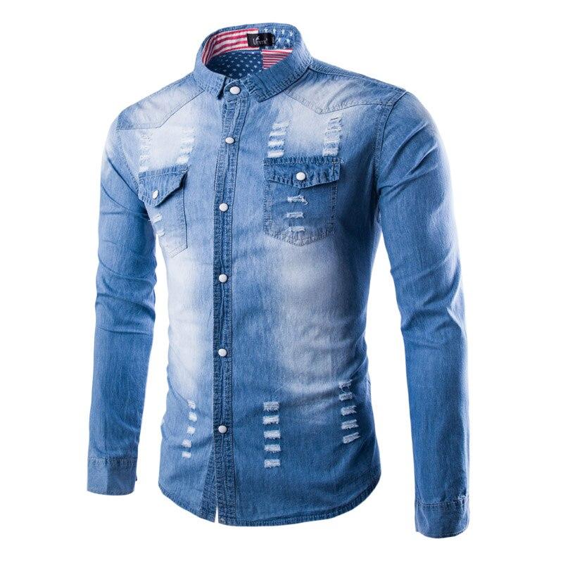 2019 Super moda tejanas camisas de manga larga para hombres, camisas vaqueras con estampado entallado para hombres, camisas casuales de Hip Hop desgastadas Cargo rasgado