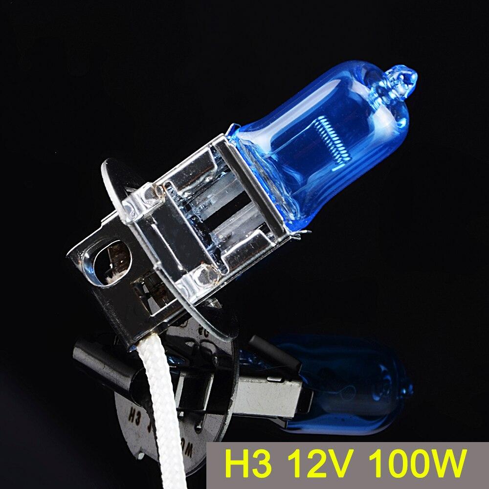 Sinovcle h3 halogênio bulbo 12 v 100 w xenon azul escuro 2200lm 5000 k lâmpada do farol de vidro de quartzo luz carro super branco