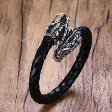 Homens de aço inoxidável dragões cabeça elástico trançado couro aberto pulseira manguito pulseira masculino da bicicleta do punk vintage jóias