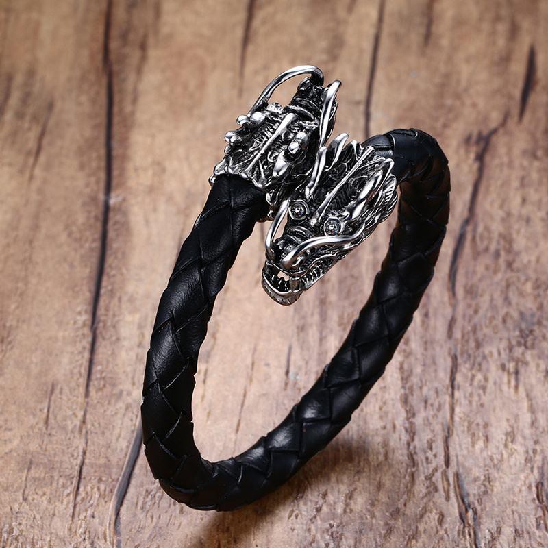 Men's Stainless Steel Dragons Head Elastic Braided Leather Open Bracelet Cuff Wristband Men Punk Bike Vintage Male Jewelry