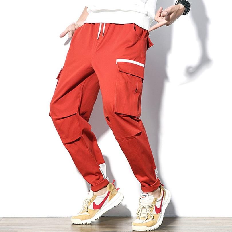 Men Cargo pants 98% cotton many pockets baggy cargo trousers male jogger fashion hip hop Summer trousers for men Size 5XL HK999