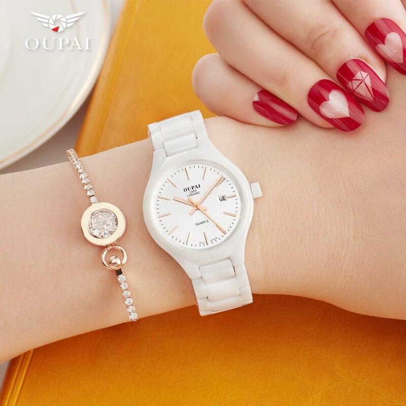 Керамические часы, модные повседневные женские кварцевые часы, relojes mujer OUPAI, брендовые Роскошные наручные часы, элегантные часы для девушек, RAD05LO