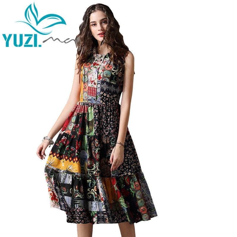 Summer Dress 2018 Yuzi.may Boho New Chiffon Vestidos O-Neck Sleeveless Swing Hem Floral Print  Women Sundress A82105 Dress Femal