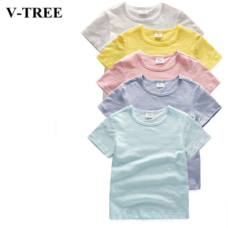 Verão meninas camiseta respirável crianças camisas de algodão de bambu topos para crianças cor sólida meninos tees 1-8t roupas da criança