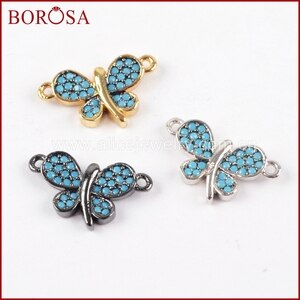 BOROSA 15PCS Elegant Pave CZ Cubic Zirconia Lovely Butterfly Tiny Connector Double Bails Mixed Colors for Bracelet Jewelry WX842