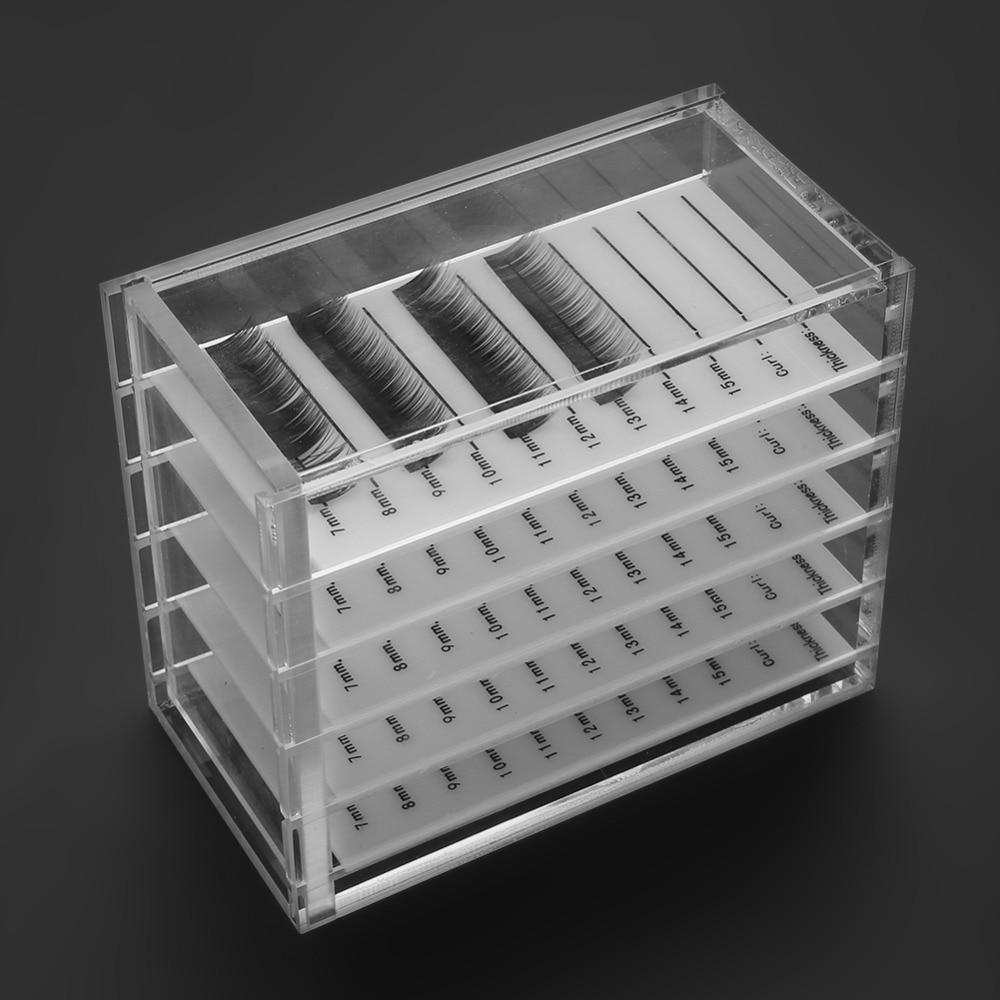 5 camadas Plásticos Exibição Maquiagem Eye Lash Lift Organizador De Armazenamento Caixa de Cílios Enxertia Cola Para Cílios Titular Pallet Caixa Transparente