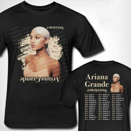 Ariana Grande Sweetener Tour 2019 camiseta para hombre talla S-3XL camiseta de hombre efecto 3D de talla Grande Camiseta de algodón