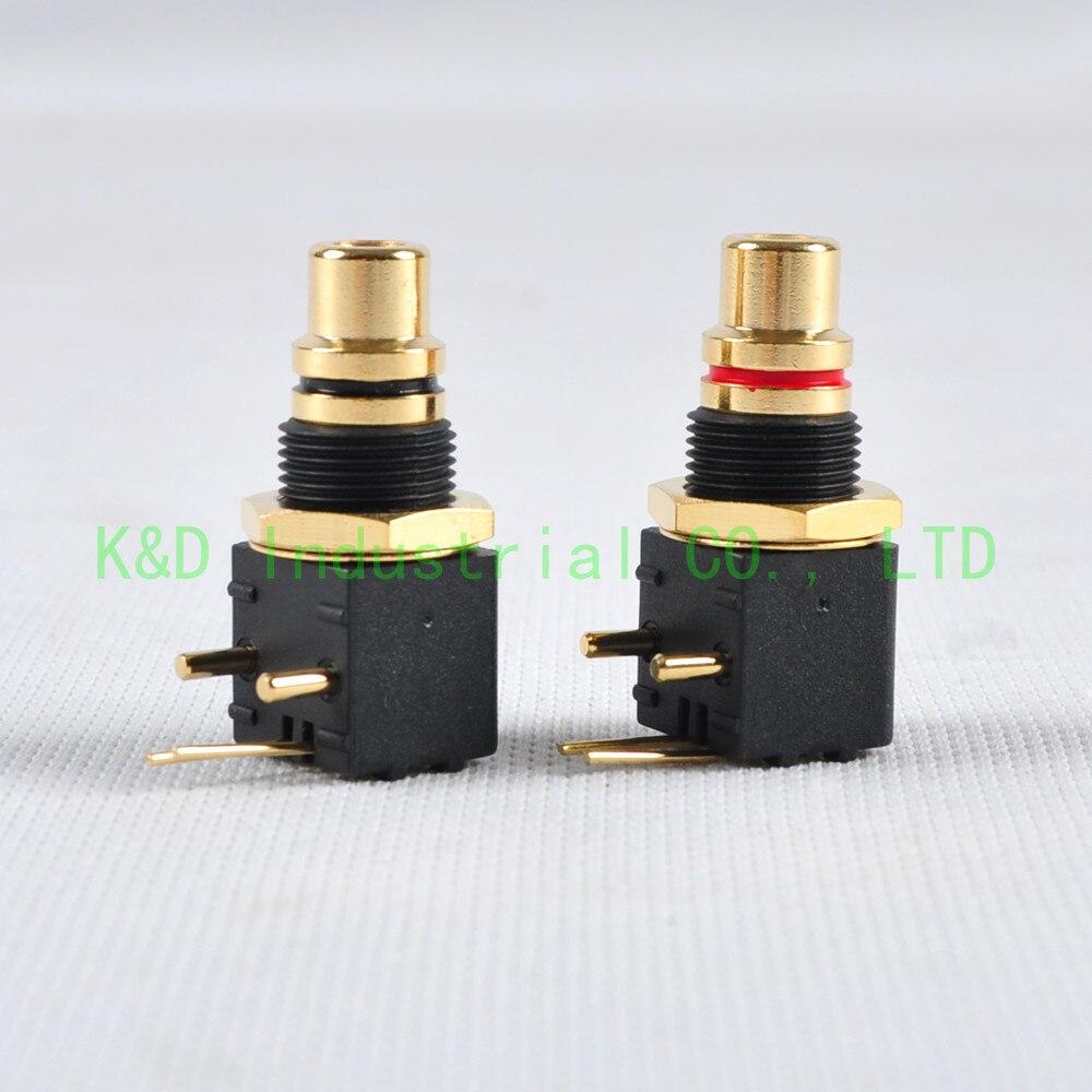 1 par de conectores de Audio RCA con Placa dorada, toma de montaje de PCB macho, Conector de grado de Audio con bloqueo de soldadura