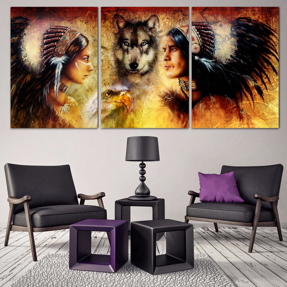 3 unids/set arte moderno decorativo diy 5d bordado de diamantes autóctonos con Lobo, 5d diamante pintura casa pared decoración imagen