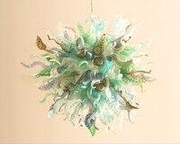 Europe Type Crystal Chandeliers Lamp Dining Room Living Room LED Lighting Summer Color Flower Chandelier AC90-260V