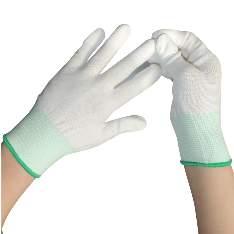 Free Shipping 10Pairs/lot Nylon PU Finger Coated Gloves White Coated Glove Anti-static Gloves Clean Knitted Gloves