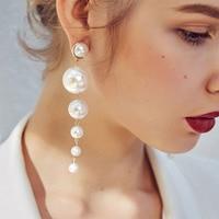 IPARAM Trend Simulation Pearl Long Earrings Female White Round Pearl Wedding Pendant Earrings Fashion Korean Jewelry Earrings