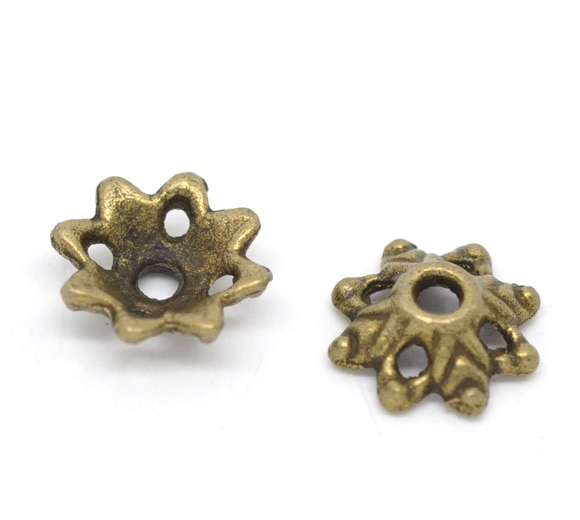 DoreenBeads 150 Bronze Tone Flower Bead Caps Findings 8x3mm (B14479)
