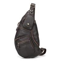 mens genuine leather retro sling chest bag belt buckle back pack cross body shoulder messenger unbalance sports pouch travel