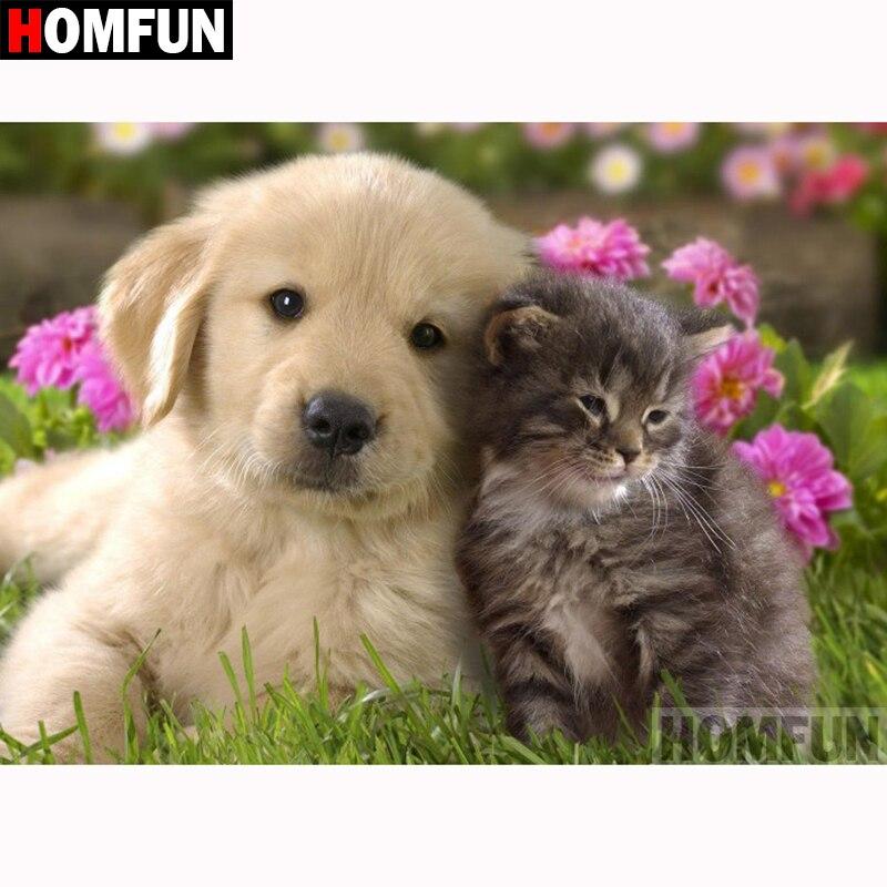 """HOMFUN Completo Quadrado/Rodada Broca 5D DIY Pintura Diamante """"Animal cão gato"""" 3D Diamante Bordado Ponto Cruz home Decor A18695"""