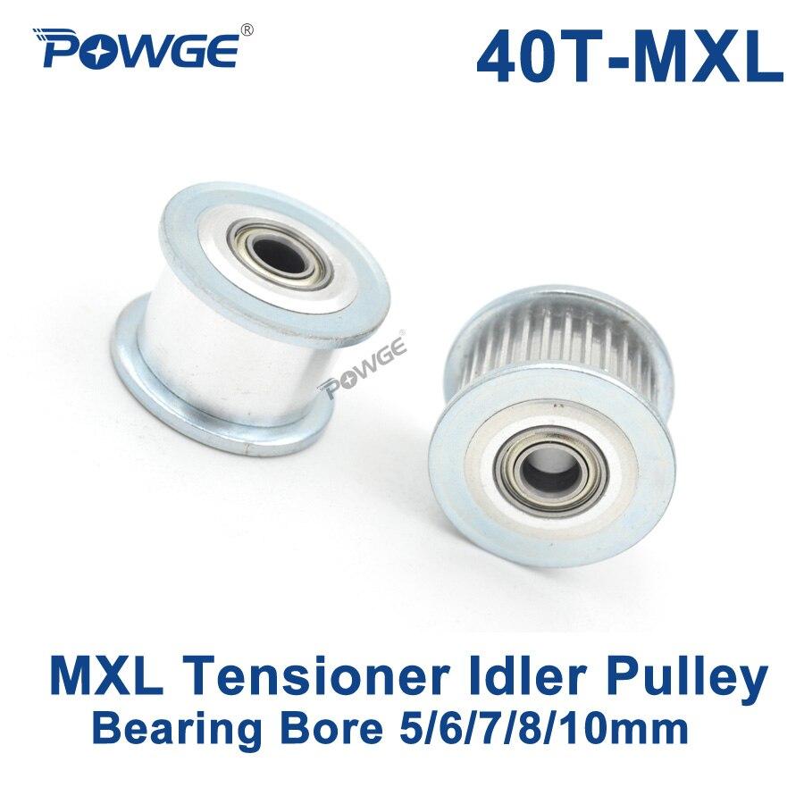POWGE pulgadas 40 dientes MXL polea síncrona polea tensora rueda diámetro 5/6/7/8/10mm con cojinete guía pasivo polea 40 dientes 40 T