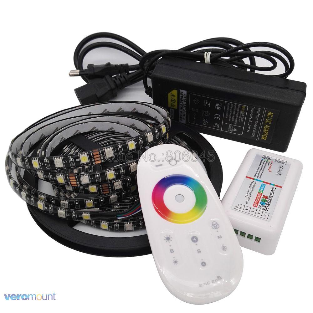 5m 12V 5050 RGBW LED Strip Black PCB IP20 IP65 IP67 Waterproof Stripe+ 2.4G Wireleless Remote Controller + DC12V 5A Power Set