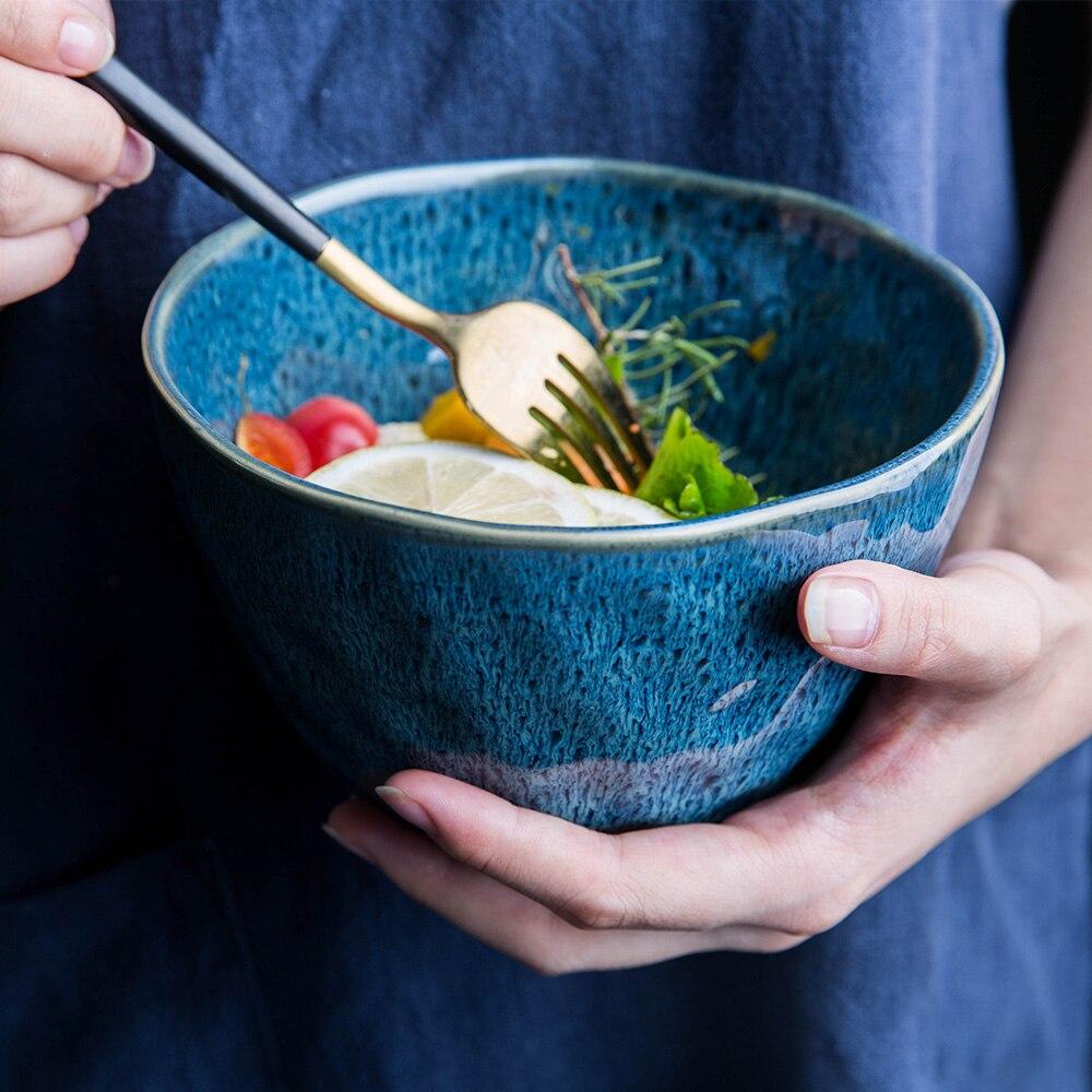 MDZF SWEETHOME 15.3*9.7cm Ceramic Salad Fruit Bowl Rice Soup Noodle Vegetable Dessert Big Bowl kitchen Tool