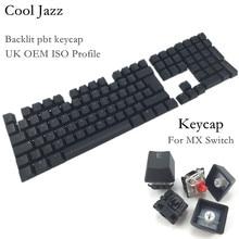 Cool Jazz doble disparo negro grueso PBT UK ISO disposición 109 teclas retroiluminadas teclas OEM perfil Keycap para teclado mecánico MX