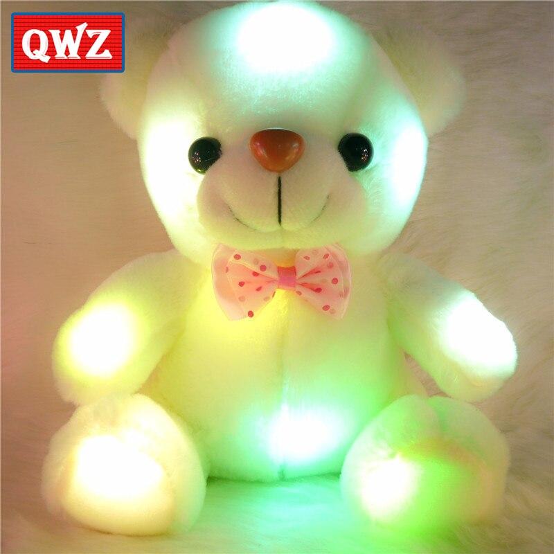 Qwz 22 cm colorido brilhante luminoso pelúcia brinquedos de pelúcia do bebê boneca iluminação urso de pelúcia urso de pelúcia adorável presentes de natal para crianças