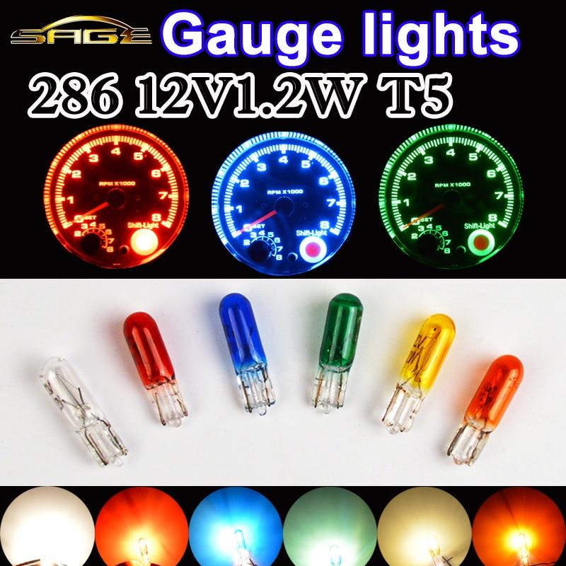 flytop 10 PCS/LOT 286 T5 12V1.2W W1.2W W2x4.6d Clear/Red/Blue/Yellow/Green/Amber Glass C2V Filament Car Lamp Lights