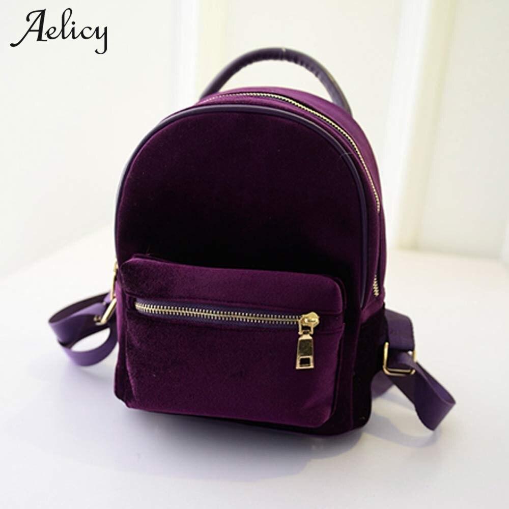 Aelicy Velvet Small Rucksack Backpack 2020 New Design Korean Fashion Backpack Schoolbag Vintage Solid Mini Backpacks For Girls