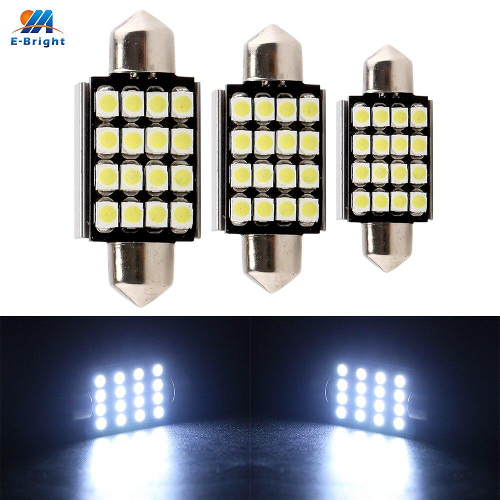YM E-Bright 50X C5W can-bus 1210 3528 16 SMD Festoon 36/39/41mm no ERROR FREE Canbus Dome LED Light Bulb Reading llamp 8000k 12v