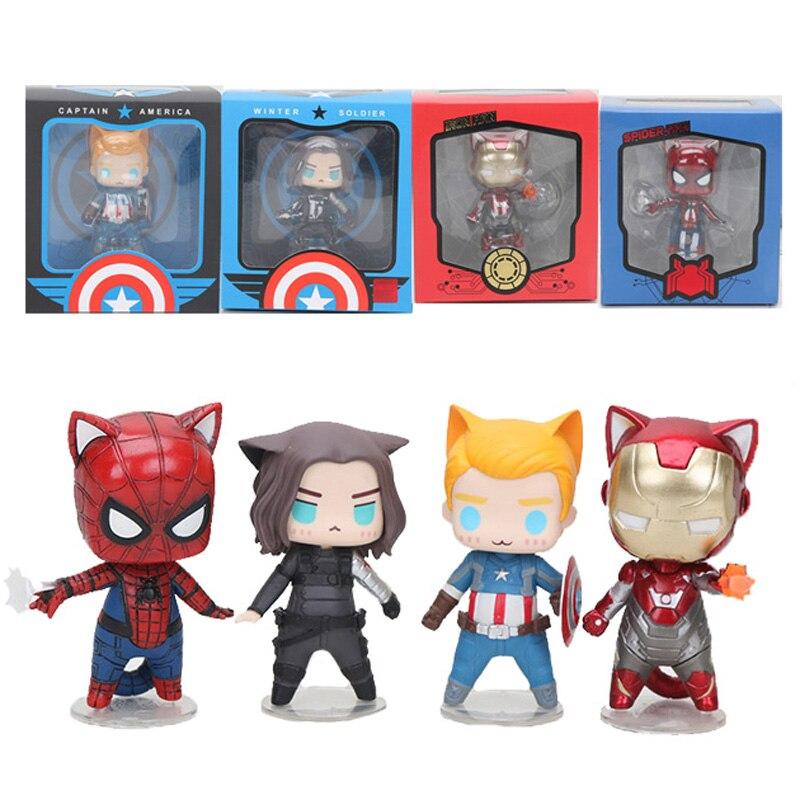 Figura de superhéroe de Los Vengadores de Marvel, superhéroe, Capitán América, Soldado de invierno, gato, versión q, superhéroe en miniatura, modelo de muñecas, juguetes