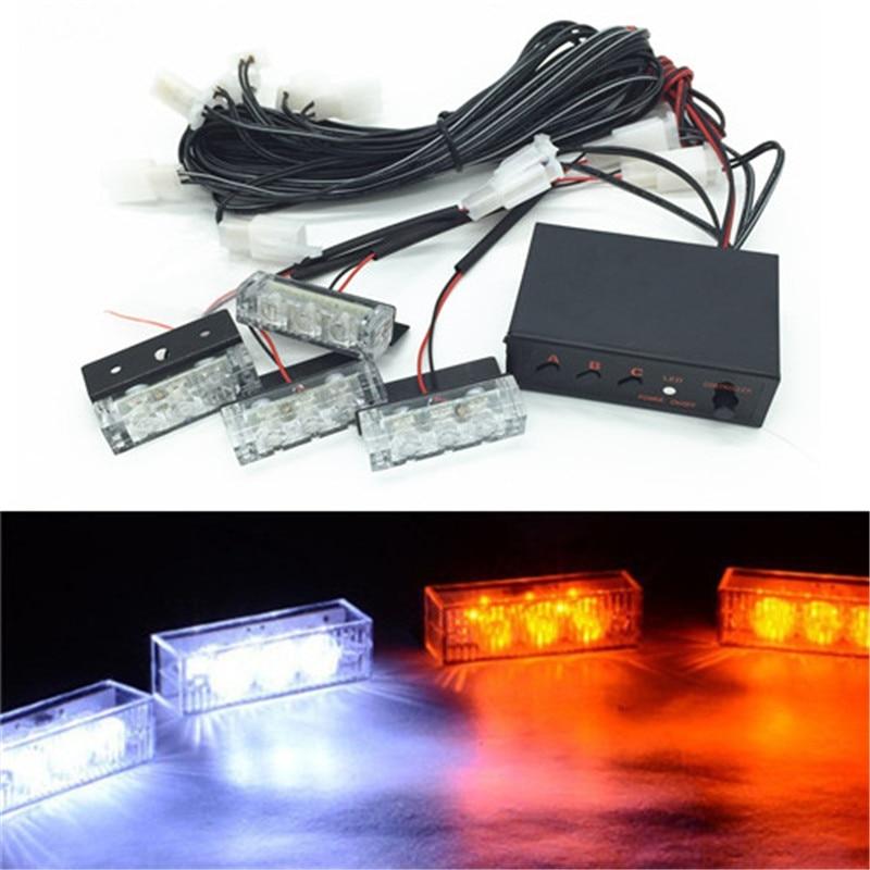 Luz de advertencia parpadeante estroboscópica LED azul, rojo, amarillo, blanco, para coche o camión, con rejilla de emergencia, lámpara para conducción, Bomberos