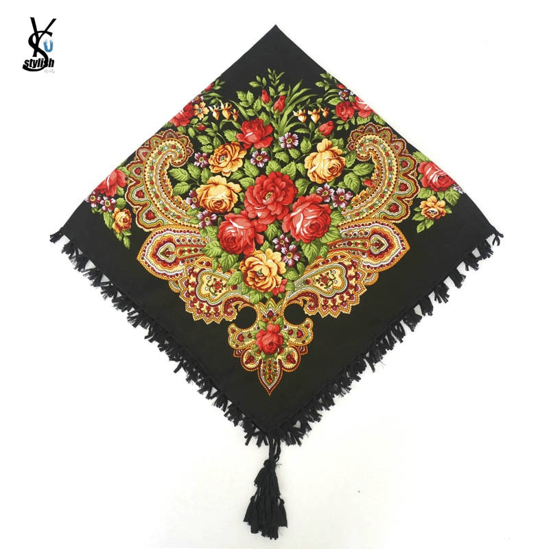 Fashion Russian Women Tassel Square Scarf Shawl Lady Printed Floral Short Tassel Headband Retro Cape Wrap Scarves 90*90cm YG584