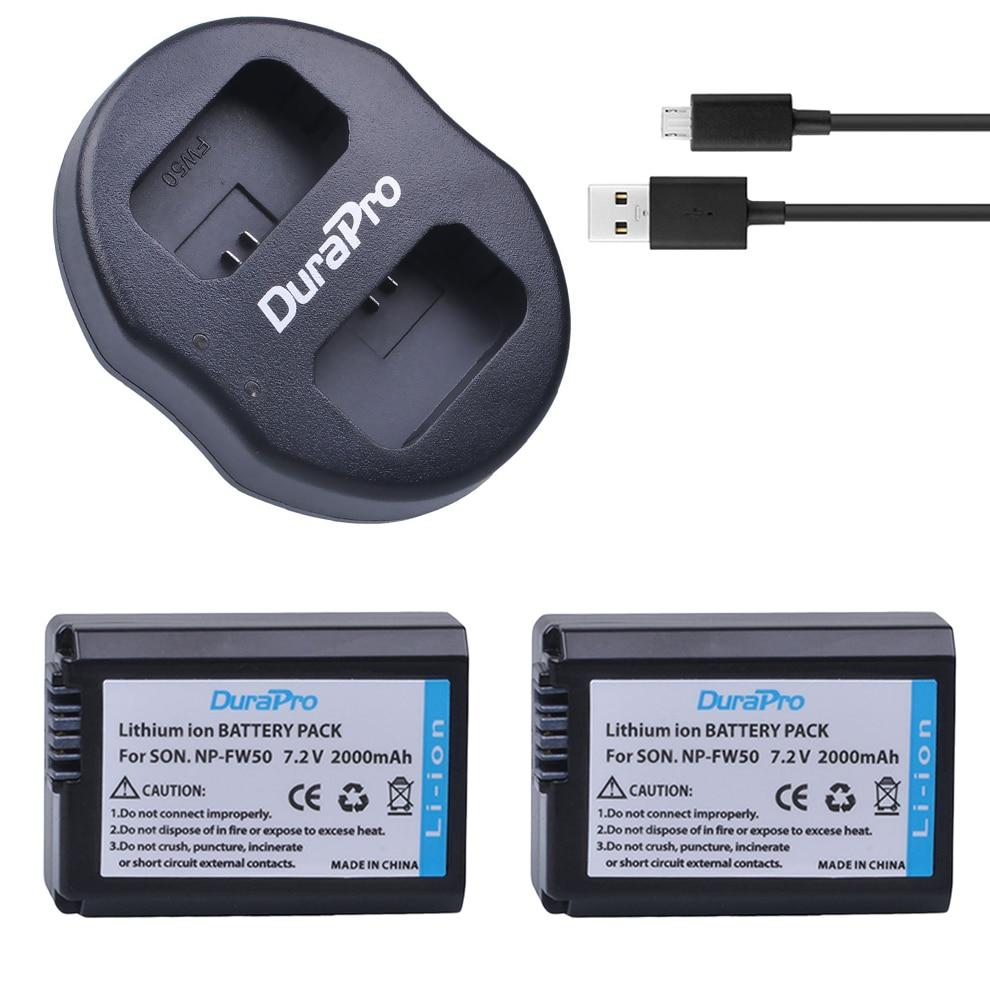 2Pcs NP-FW50 NP FW50 Camera Battery + Dual USB Charger for SONY A5000 A5100 A7R A6000 5T 5C 3N A7 NEX6 NEX7 NEX5TL NEX5R NEX5N