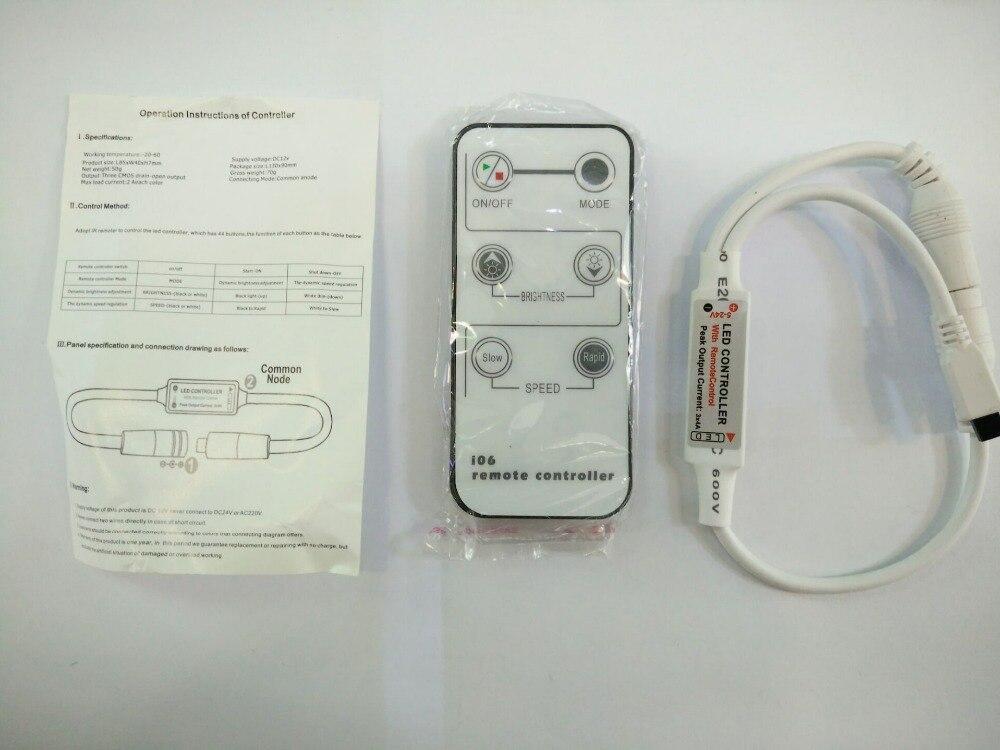 6 mini atenuador de color único IR controlador remoto LED DC5V-24V 144W para 5050, 3528, 3014, 5630 color tiras LED