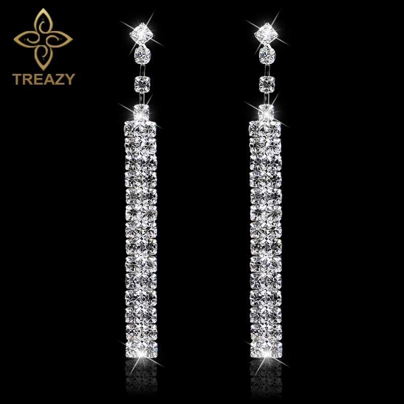 Tira de diamantes de imitación, pendientes de color plateado largo para boda, Pendientes colgantes de cristal completos para mujer, regalo de joyería nupcial